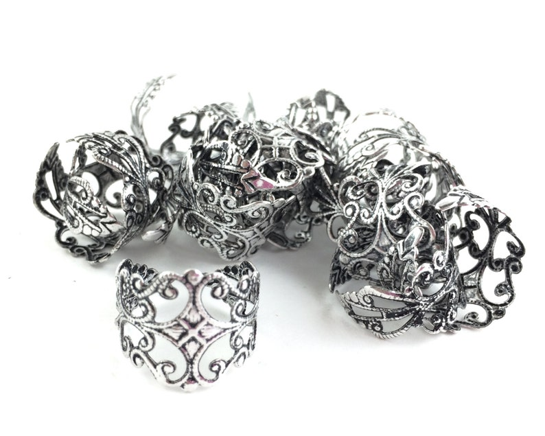 Adjustable Silver Filigree Ring Oxidized Silver Ring 4pcs  20pcs Wholesale Ring Blanks Ornate Vintage Rings -Thick Band Base