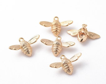 4pcs Small 18K Gold Bee Charms - Flutter Bee Charms - Bug Charms - Honeybee Charms - Small Charms - Manchester Bee