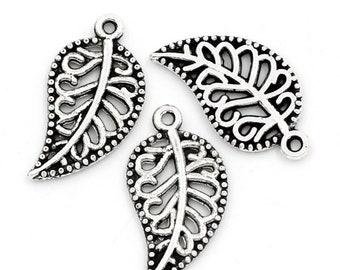 10pcs/100pcs Antique Silver Leaf Charms 18x10mm Pendants Hollow Nature Filigree Small Charm Boho Chic Hippie Charm