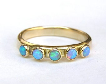 Blue Opal ring , Fine gold ring, Stackable ring ,Opal wedding bands ,14k gold ring ,Handmade engagement Ring, Anniversary Ring, gift for her