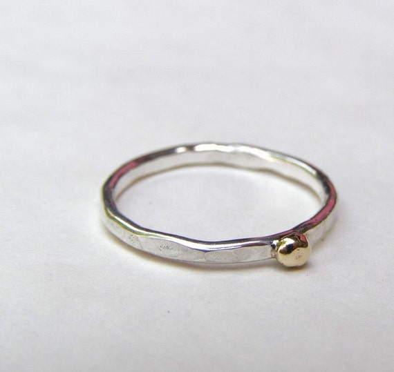 Stacking Ring Silver Sterling Ring 14k Solid Gold Dots Gift Etsy
