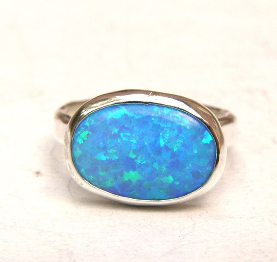 Blue Stone Ring Statement Ring R-788 Blue Opal Ring Sterling Silver ring US size-9 Handmade ring gift ring, Blue Opal Gemstone Ring