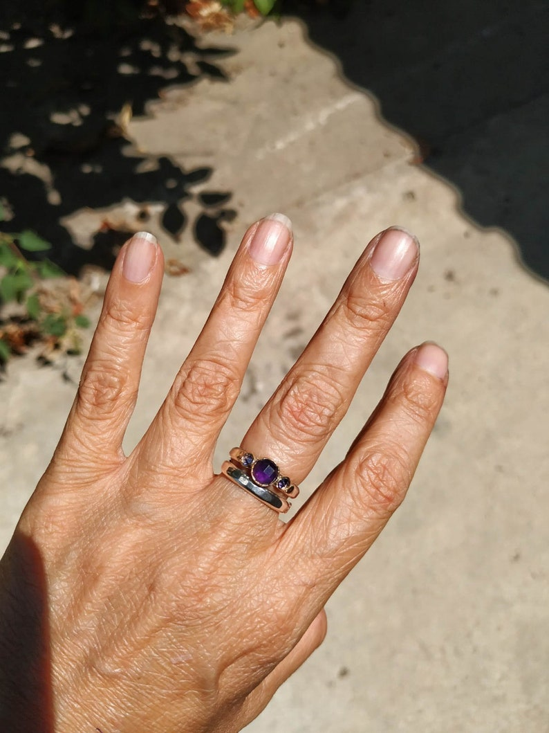 Promise ring Mouther/'s day Rings Anniversary ring Gift for her,Bridal set ring Purple amethyst Engegmaent Ring 14k Gold and silver Ring