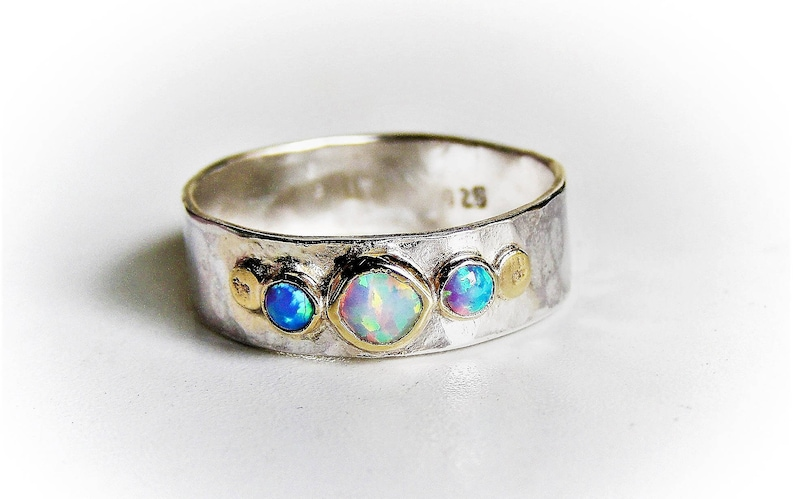 silver sterling ring White opal Ring Birthday gift, Promise Rings anniversary gift Engagement Ring ,Multistone Rings Blue Opal ring