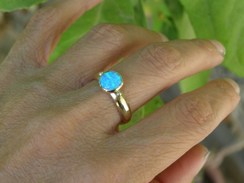 October Birthstone Stackable ring Birthstone ring Statement Opal ring Anniversary Ring Fine 9K jewelry Solitaire Opal ring
