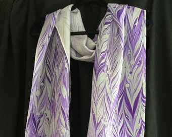 Hand-marbled Large Purple and White Silk Washable Scarf - 14 x 72""