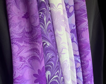 """Purple Scarf Collection — Your Choice Hand Marbled Washable Silk Scarf - Each 14 x 72"""""""