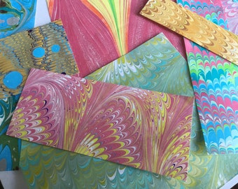 """Free Shipping within USA -- Hand-Marbled Scrap Collection - """"Tiny Surprises BRIGHTS"""" Paper Collage Pack"""
