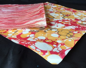 Ketchup & Mustard Bright -- Flawed Discounted Large Hand Marbled Paper Set of Two in Rose, Yellow Ochre, and Ivory