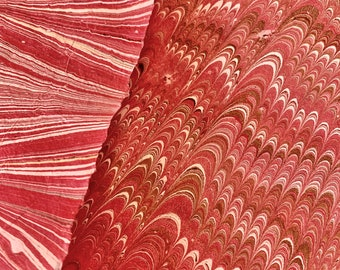 Strawberry Fields - Hand Marbled Paper Set of Two - Pink and Red on Lokta Paper
