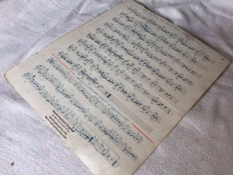 Marbled Antique Hand Written Sheet Music for Sax and Guitar