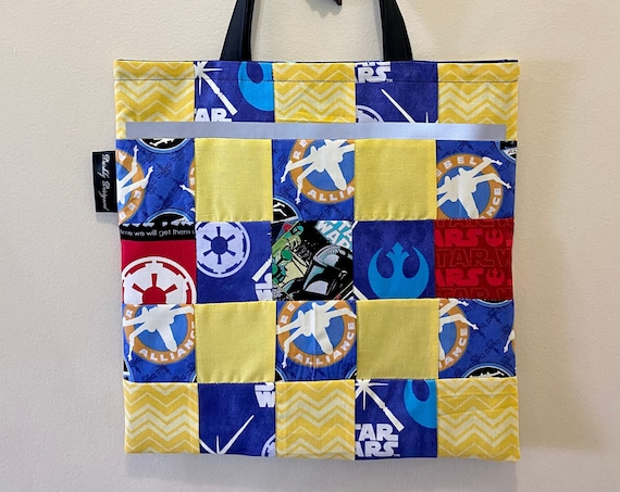 Star Wars/Mandalorian Reflective/Glow-in-the-Dark Quilted Tote Bag