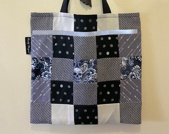 Skull Reflective Quilted Tote Bag