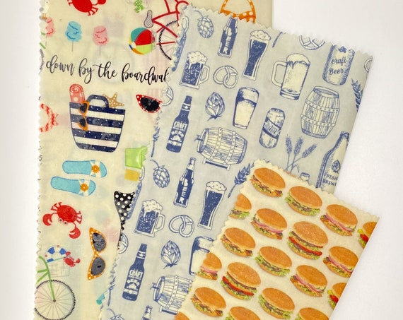 Beeswax Wrap Bundle - Beers, Burgers & Beaches