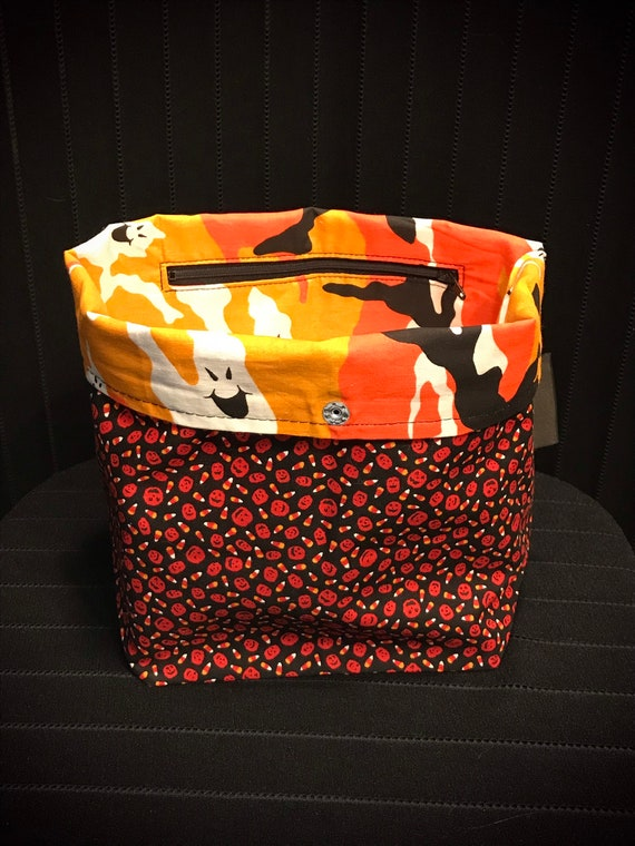 Pumpkin & Candycorn/Ghost-Camouflage Reversible Project Bag