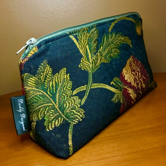 Red Floral Tapestry Toiletries Bag