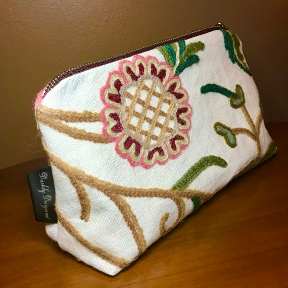 Floral Embroidered Toiletries Bag