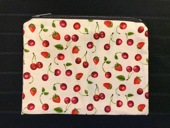 Cherries & Strawberries Zippered Bag