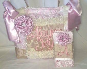 Custom Handmade Vintage Style Diaper Bag Blush Pink Matching Wipe Case Lace Ruffles Satin Bedazzled Large Bows Pockets Jacquard elegant nice