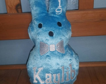 """Personalized Easter Peeps made fast to order lots of colors bowties 2019 in the hoop 9"""" tall soft minky dot Beautiful"""
