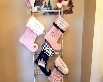Christmas Curled toe Stocking Hanging Boy Girl light pink Fur navy white fur ruffles insulated Gorgeous Soft High Quality custom handmade