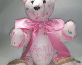 Plush Keepsake Bear Baby Pajamas nighty Sleeper or outfit Memorabilia transitional pattern detailed Handmade Custom Rice Soft Beautiful Nice