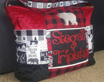 Woodland Animals Adventure Lumberjack diaper bag 9 Pockets Moose Bear red flannel fabric zipper single strap Gorgeous Personalized beads