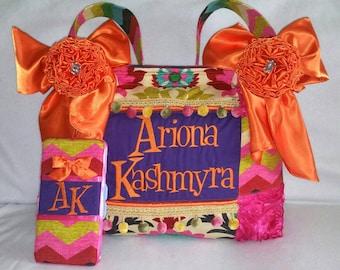 Large Diaper Bag Colorful Floral Custom Handmade Baby Girl 5 Bottle Pockets pom pom Trim roses embroidery shoulder bag tote patchwork NICE