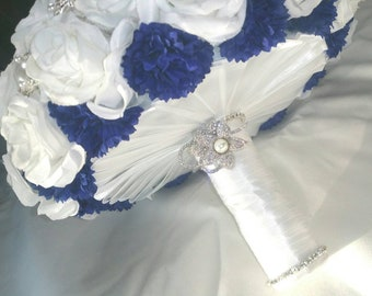 Beautiful Wedding silver brooch bouquet White pearls silk roses navy blue flowers boutonniere bling Handmade Elegant matches dress customize