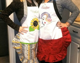 Handmade Embroidered Aprons Appliqies Chihuahua llama sunflower Mardi Gras Spa beautiful woman makeup lashes hobby Cooking protection nice
