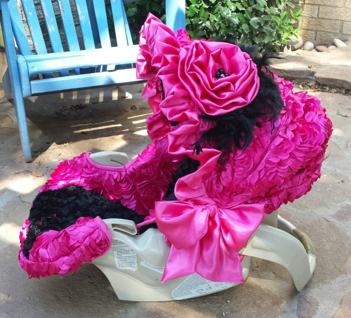 3d Rosette Flowers Fuschia Hot Pink And Black Reupholstered Car Seat