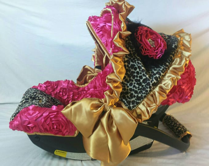 Featured listing image: Beautiful GypsyTiara Hot Fix Bling Reupholstered Car Seat Cover Canopy Head Protector Ruffles Leopard Fur Gold Satin Bows 3d Fuschia Rosette