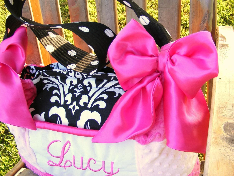 24e7e07a80a6 Diaper Bag Light Pink and Fuchsia Minky Dot Damask Polka-dot Bows 3 Pockets  shoulder bag tote travel gym dance bucket laptop book bag NICE