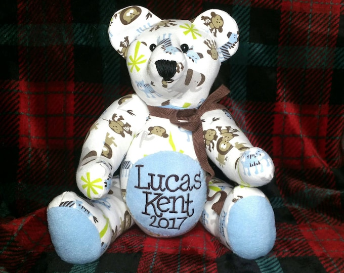 Featured listing image: Keepsake bear from baby's pajamas sleeper nighty stuffed animal memorabilia transitional pattern detail Handmade custom rice beautiful soft