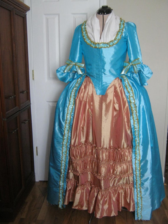Blue Colonial Gown sz 14   Etsy