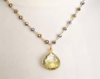 Gold Rutilated Quartz Pyrite Bead Necklace, Gold Pendant, Gold Bead, Rutile Quartz, Stone Pendant, Rosary Chain, Unique Gemstone Jewelry