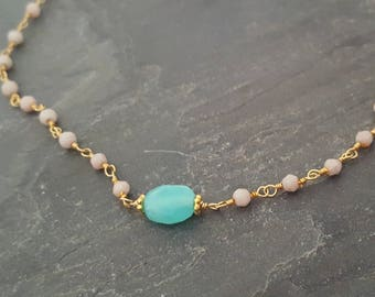 Stone Choker Necklace, Pastel Necklace, Opal Stone, Opal Pendant, Opal Jewelry, Peach Necklace, Dainty Necklace, Coral Bead, Turquoise Stone