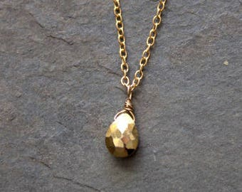 Gold Pendant Necklace, Gold Pyrite, Gold Stone, Single Stone, Stone Pendant, 14k Gold Filled Chain, Simple Gold, Dainty Gold, Delicate Gold