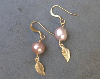 Pastel Pink Pearl Earrings, Pearl Earring Necklace Set, Small Pink Earrings, 14k Gold Fill, Pearl Dangle Earrings, Pearl Drop, Gold Leaf