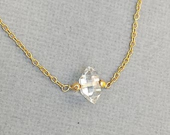Single Herkimer Diamond Necklace, Single Stone, Clear Stone, Gold Chain, Silver Chain,  Raw Stone, Stone Necklace, Stone Pendant, Modern