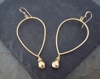Large Gold Hoop Earrings, Teardrop Hoop, Gold Pyrite Earrings, Pyrite Stone, Pyrite Briolette, Gold Statement Earrings, Big Gold Hoop