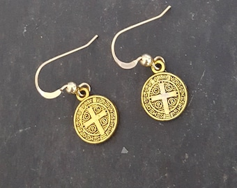 Antique Gold Coin Earrings, St. Benedict, Gold Medal Medallion, Saint Benedict, San Benito, Gold Cross, Gold Fill, Simple Gold, Coin Jewelry