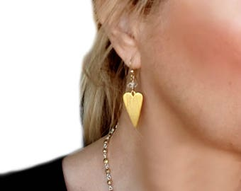 Gold Heart Dangle Earrings, Gold Statement Earrings, Herkimer Diamond Gold, Heart Jewelry, Herkimer Diamond Jewelry, Clear Stone, Crystal