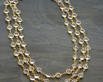 Long Crystal Necklace, Long Gold Swarovski Crystal Necklace, Long Back Necklace, Sparkly Necklace Gold CHANNEL Set Classic Crystal Chain