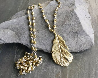 Long Gold Bead Pendant Necklace, Long Pendant Necklace, Gold and Silver, Gold Feather Pendant, Gold Leaf Pendant, Long Boho, Boho Jewelry