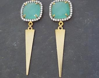 Gold Aqua Crystal Dangle Earrings, Ocean Blue, Blue Green Gold Dangle, Gold Spike, Pave Crystal, Aqua Blue, Triangle, Modern Blue Crystal
