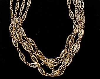 Art Nouveau 14k Yellow Gold Chain Necklace, Art Deco, Solid Gold Real Gold Necklce, Filigree Chain, Scroll Chain, Wrap Around, Vintage Style