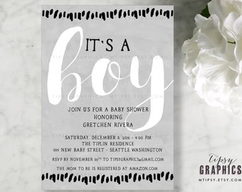 Gray White Black Baby Shower Printable Invitation.  Gender Neutral. It's a Boy. Girl. Twins. Watercolor Calligraphy. By Tipsy Graphics