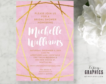 Blush Pink Gold White Bridal Shower Printable DiY Invitation. Watercolor Calligraphy Glitter Geomatic Angles. By Tipsy Graphics