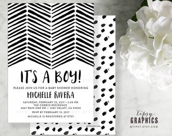 Black and White BoHo Baby Shower Printable Invitation.  Gender Neutral. It's a Boy. Girl. Twins. By Tipsy Graphics